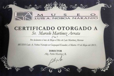 Diploma for Marcelo Martínez Arrata