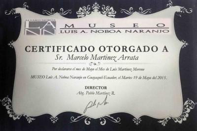Diploma for Marcelo Martínez Arrata